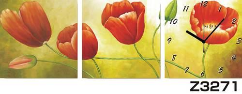 日本初!300種類以上のデザインから選ぶパネルクロック◆3枚のアートパネルの壁掛け時計◆hOur DesignZ3271【花】【代引不可】 送料無料