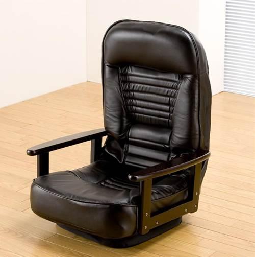折り畳み式木肘回転座椅子(低反発ウレタン入り) 座椅子 座イス ざいす チェア チェアー パーソナルチェアー 5段階リクライニング 折りたたみ式 肘付き 天然木 ソフトレザー[代引不可] イス・チェア 合成皮革 送料無料