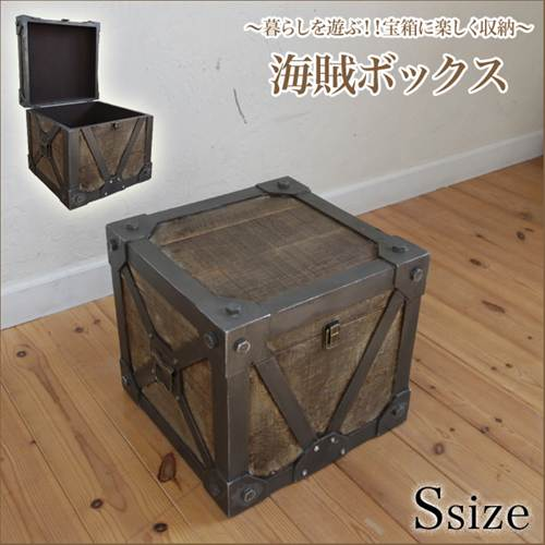 Table Type Wood Trunk Box S Size Width 33 X 30 Cm Tall Pirate Box Antique  ...