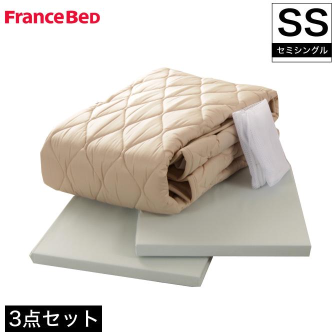 フランスベッド ウォッシャブル 英国羊毛(ウール100%)4点パック セミシングル マットレスカバー2枚+ベッドパッド1枚洗濯ネット付 グッドスリーププラス 抗菌・防臭加工 カバーセット 寝具セット ベッドパット ボックスシーツ