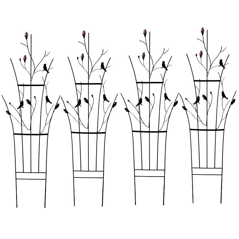 トレリス リーフ&バード 4枚組 送料無料 鳥 どんぐり フェンス アイアン ガーデンフェンス ガーデニング 枠 柵 仕切り 境目 クラシカル アンティーク ベランダ つる 薔薇 バラ 朝顔 園芸 ラティス