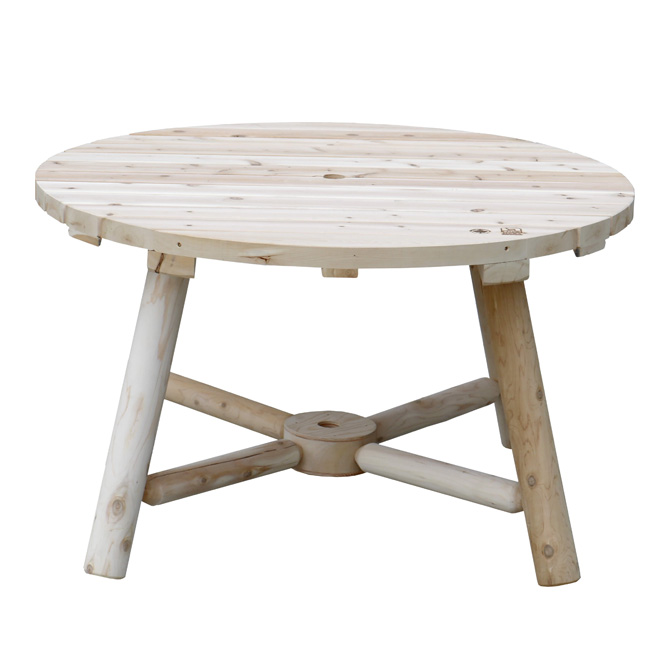 ガーデンテーブル Cedar Looks ラウンドパラソルテーブル 天然木製 アウトドア ガーデンファニチャー ホワイトシダー 米杉 ログファニチャー セット 屋外 庭 園芸 エクステリア