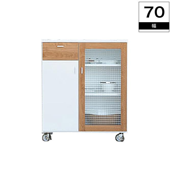 キッチンカウンター【送料無料】すりガラスがおしゃれなコンパクトキッチンワゴン幅70cm PA70 キッチンカウンター キッチンラック レンジ台 食器棚