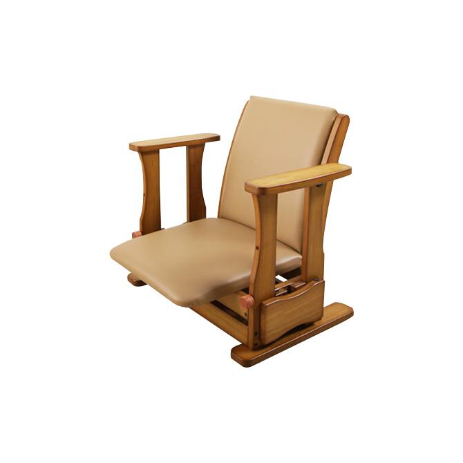 座椅子 日本製 木製 肘掛け付座椅子 ロータイプ 立上りサポート座面下にバネの力 脚 腰 膝の負担軽減 起立補助椅子 体重45-65kgの方に 座いす 座イス ひとり立ち リフトアップチェア 昇降椅子 送料無料 敬老の日 母の日 父の日 ギフト プレゼント 一人掛け 1人掛け