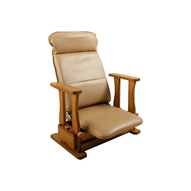 座椅子 木製座椅子 肘掛け付 ロータイプDX 日本製 立上りサポート座面下にバネの力 脚 腰 膝の負担軽減 起立補助椅子 ひとり立ち 体重45-65kgの方に適しています。背部4段階リクライニング 座いす 座イス 肘付き 国産 送料無料 一人掛け 1人掛け