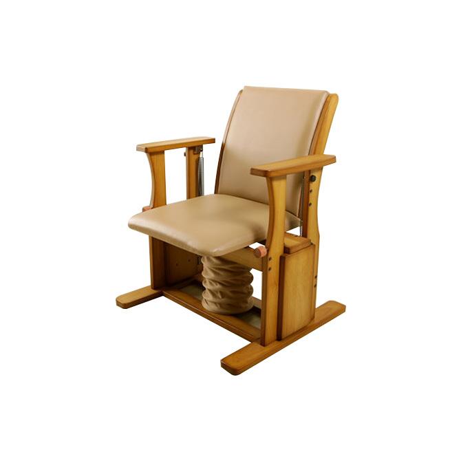 座椅子 木製 肘掛け付 高座椅子ハイタイプ 日本製 立上りサポート座面下にバネの力 脚、腰、膝の負担軽減 起立補助椅子 ひとり立ち 体重45-75kgの方に適しています。座いす 座イス リフトアップチェア 昇降椅子 立ち上がりや座る時の負担を軽減 送料無料