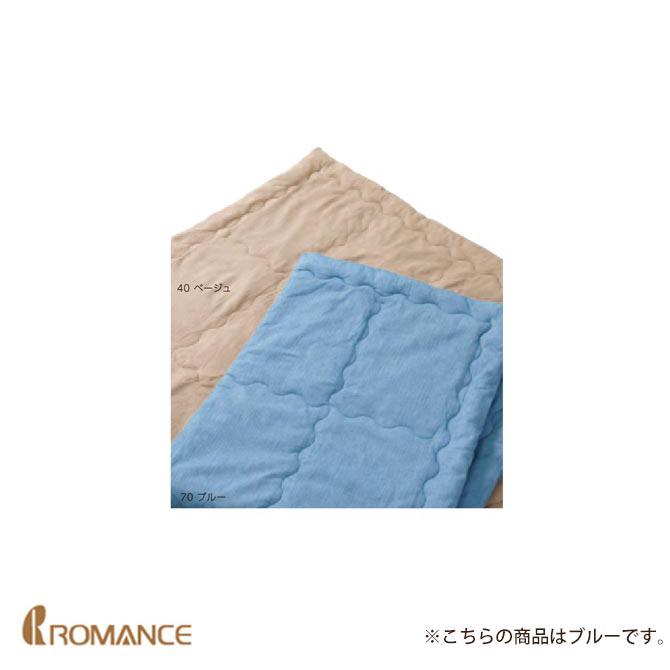 肌掛け布団(ウォッシャブル) シングル ブルー 側生地 高島ちぢみ京都 ロマンス小杉 幅140×奥行210cm 綿100% 日本製 ふとん かけ布団