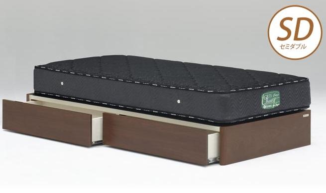 ベッドフレーム ウォルテ ヘッドレス 引き出し付き セミダブル ウォールナット フレームのみ 収納ベッド チェストベッド 木製ベッド モダン シンプル 省スペース Granz グランツ