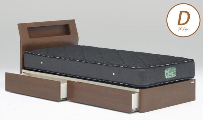 ベッドフレーム ウォルテ Sキャビネット 引き出し付き ダブル ウォールナット フレームのみ 収納ベッド チェストベッド 木製ベッド モダン 棚付 宮付きベッド コンセント付 Granz グランツ