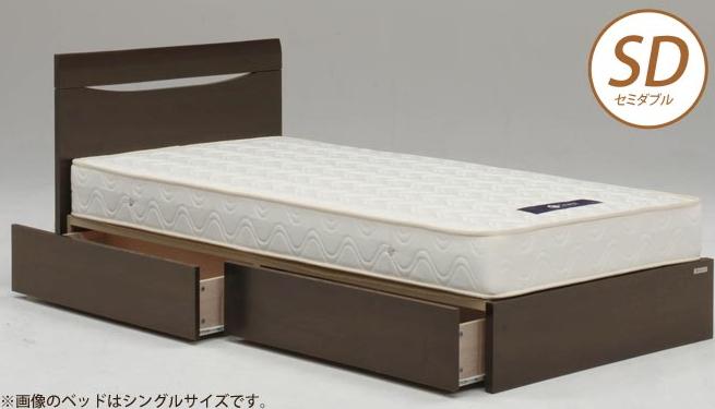 ベッドフレーム シーナ フラット 引き付き セミダブル NA(ナチュラル) DB(ダークブラウン) 木製ベッド セミダブルベッド 引き出し付き 収納ベッド フレームのみ 幅木よけ付き シンプル ボックス引出2杯 シック モダン  Granz  グランツ