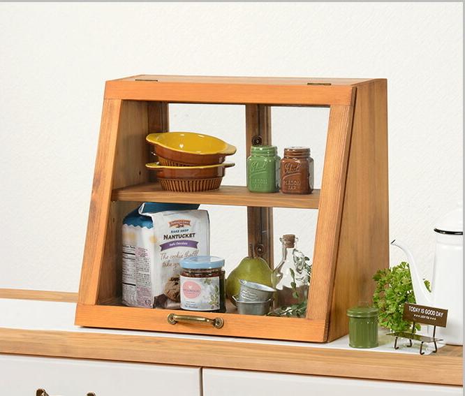 キッチン 収納 カウンター上収納 キッチンカウンター ガラス レトロ 木製 調味料ラック 調味料 棚 おしゃれ 北欧 スパイス 台所収納 ガラスケース 幅40×奥行25×高さ35cm