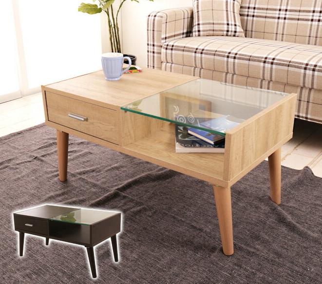 センターテーブル ガラステーブル ローテーブル 引出し付き リビングテーブル ガラス おしゃれ カフェ コーヒーテーブル シンプル 木製テーブル 強化ガラス 収納付き テーブル
