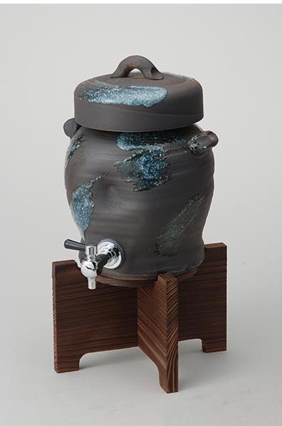 青刷毛目サーバー 伝統的な味わいのある信楽焼き ドリンクサーバー 酒入れ 和テイスト 陶器 日本製 信楽焼 ビールサーバー 焼き物 和風 しがらき