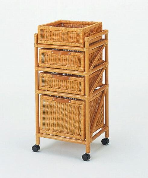 ランドリーチェスト3杯 幅40cm サニタリーでは衣類やタオルなどの収納に活躍。 ランドリー(上カゴ付スリム) 収納家具 ランドリーチェスト ランドリーラック 籐製 ラタン 送料無料