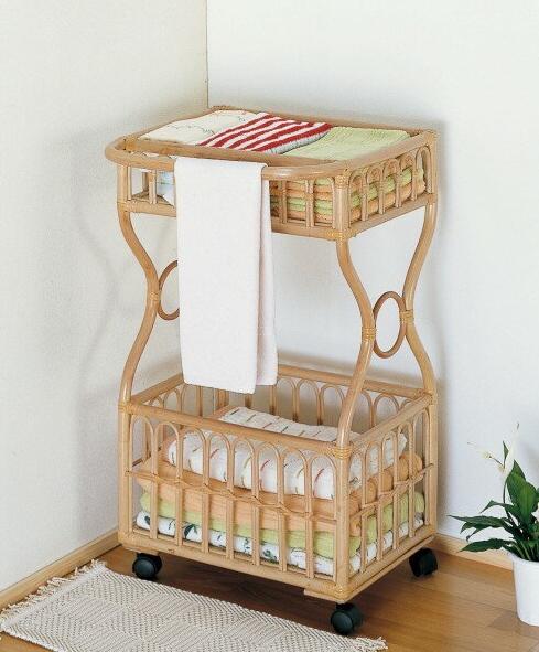 天然素材のラタンで、お部屋も少しリラックス気分 ランドリー 収納家具 ランドリーボックス 洗濯籠 洗濯カゴ