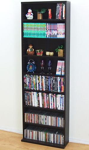 【送料無料】薄型文庫本収納ラック(ブラウン) 幅60cm 奥行17cmの薄型だからぴったり収まる高さ180cmの本棚 書棚 CDラック DVD収納棚【代引不可】