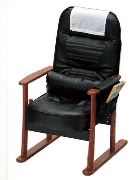 座椅子 肘付き高座椅子 ブラック(レザー)ガス圧式無段階リクライニング高座椅子 後ろ脚が長いデザインで、リクライニングしても椅子が引っくり返ることなく安定敬老の日などのプレゼントにオススメです。 一人掛け 1人掛け