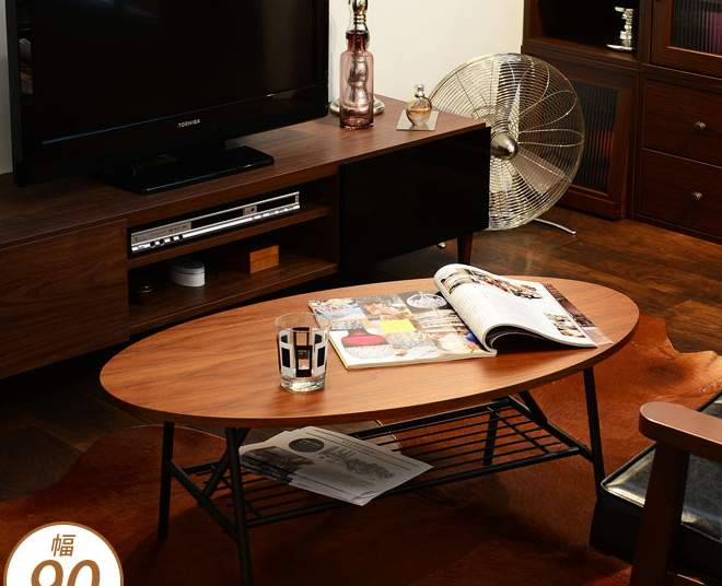 センターテーブル 棚付き 幅90cm ブラウン ウォールナット突板 木製天板 スチールフレーム オーバルテーブル 楕円形 ローテーブル センターテーブル リビングテーブル カフェテーブル コーヒーテーブル 収納付き リビングテーブル おしゃれ レトロモダン 一人暮らし