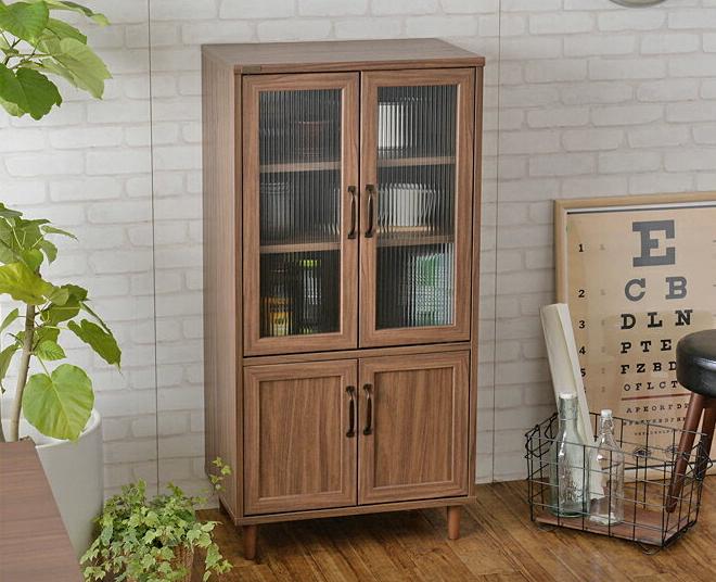 キャビネット 木製 幅60cm 食器棚 ガラス扉 両開き棚 ブラウン/ホワイト 木製 カントリー リビング収納 キッチン収納