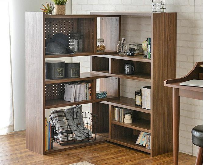 ディスプレイラック 高さ125cm L字型 コーナー ホワイト/ブラウン/ナチュラル 木製   オープンラック シェルフ 伸縮ラック 伸縮 オープンシェルフ 本棚 飾り棚