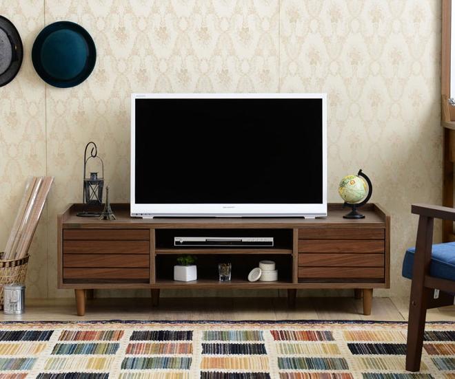テレビ台 トワイスローボード 幅120cm TWICE 引き出し収納 TVボード テレビボード ローボード AVボード テレビ収納 ウォールナット ミッドセンチュリー レトロテイスト