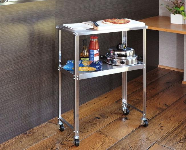 ステンレス スリム作業台 DS92 frames&sons キャスター付き 作業テーブル キッチンテーブル 棚付き 作業机 キッチンワゴン