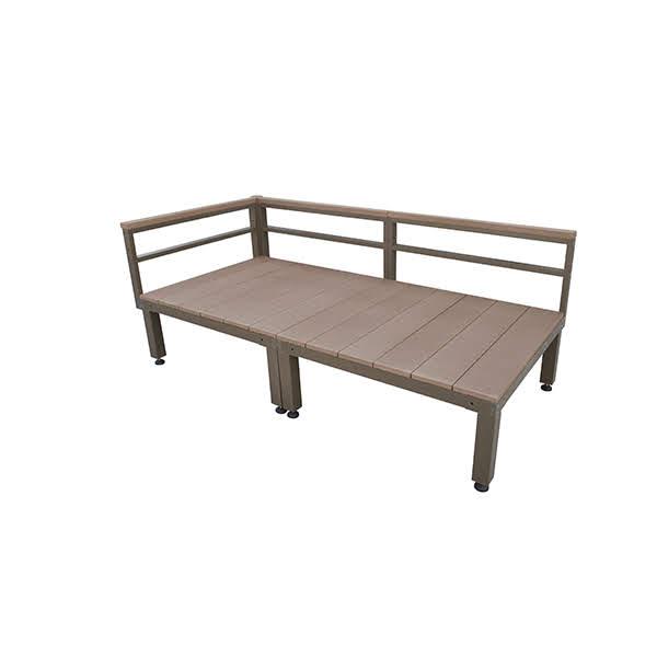 ウッドデッキ 人工木 ローフェンス付きタイプ 2点セット 0.5坪 ブラウン