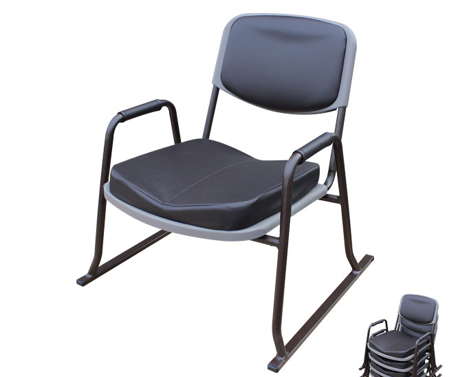 スタッキングチェアー 4脚セット 厚手クッション和座敷チェアー・肘付き 55.5×51×58cm 積み重ね可能 座椅子 座いす チェア クッション 肘付き スタッキング シンプル 椅子 和室 省スペース 完成品 [送料無料]