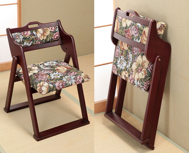 折りたたみ椅子 和風 折りたたみ式 コンパクト収納 座椅子 天然木使用 花柄 和風インテリア