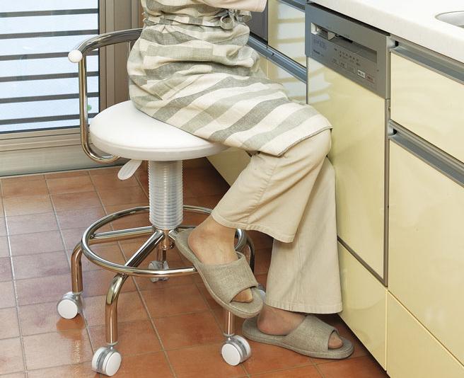 キッチンチェア 昇降式チェア 回転式チェア キャスター付き パソコンチェア カウンターチェア バーチェア フットレスト式 高さ調節可能