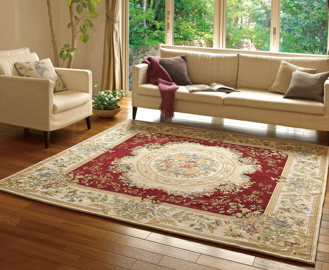 シェニールゴブラン パレス ラグ 200×200 ワイン ベージュ グリーン エスニック カーペット フローリング 洋室 モダン 絨毯 じゅうたん 高級