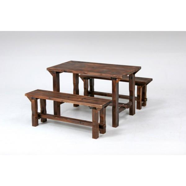ウッドテーブル ウッドデスク テーブルセンターにバーベキューコンロの置ける便利なテーブルセット アウトドア ガーデン 木製デスク 木製ベンチ ウッドベンチ 焼杉テーブル&ベンチセット 送料無料