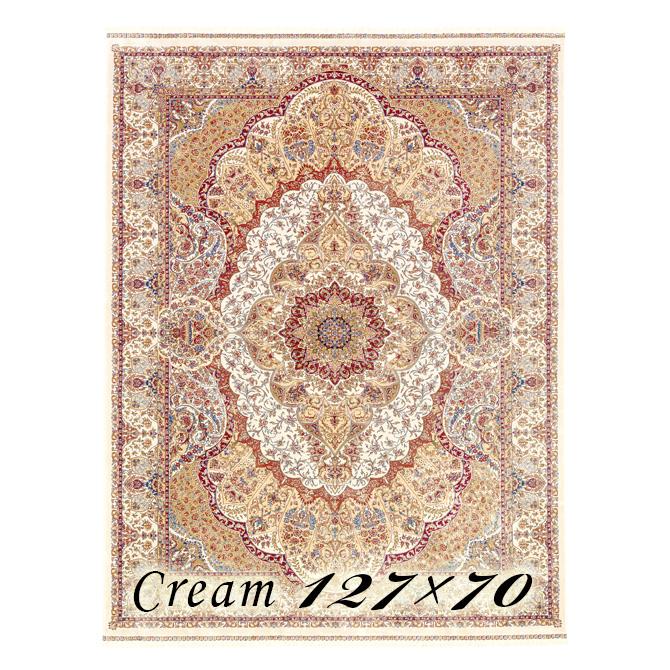 ラグ カーペット パウラ 127×70cm N1クリーム ベルギー製 ウィルトン織 フレンジ(房)つき 高級 絨毯 厚手 【送料無料】【代引不可】