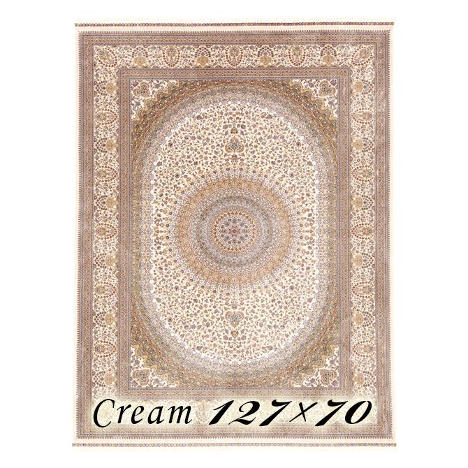 ラグ カーペット タルブ 127×70cm N1クリーム ベルギー製 ウィルトン織 フレンジ(房)つき 高級 絨毯 厚手 【送料無料】【代引不可】