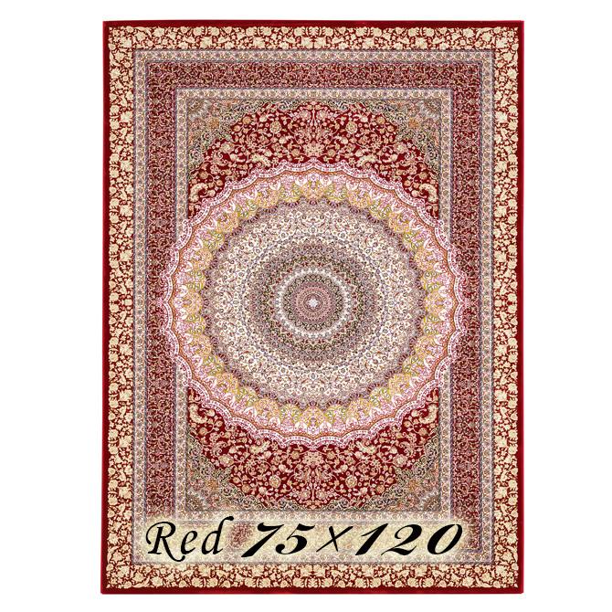 ラグ カーペット ローレア 75×120cm N7 レッド ベルギー製 ウィルトン織 高級 絨毯 厚手 【送料無料】【代引不可】