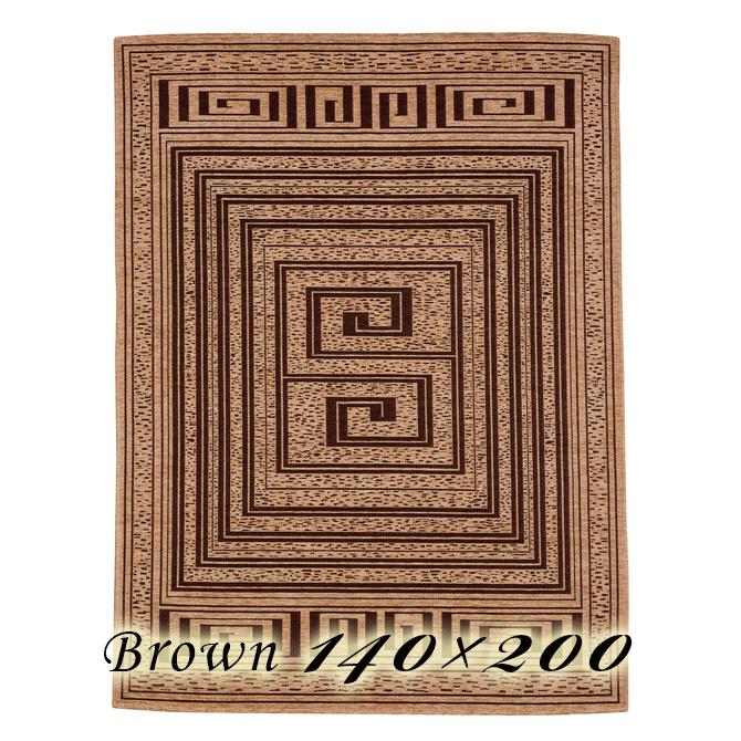 ラグ カーペット モイラ 140×200cm ブラウン イタリア製 ゴブラン織 高級 絨毯 厚手 【送料無料】【代引不可】