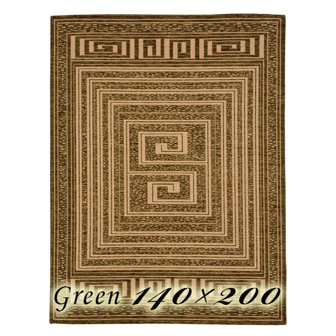 ラグ カーペット モイラ 140×200cm グリーン イタリア製 ゴブラン織 高級 絨毯 厚手 【送料無料】【代引不可】