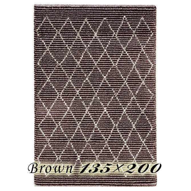 ラグ カーペット ラスティス 135×200cm ブラウン ベルギー製 ウィルトン織 高級 絨毯 厚手 【送料無料】【代引不可】