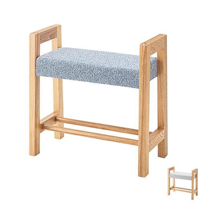 スツール 手すり 棚付き HOC-852 玄関チェアー ファブリック 木製 玄関 キッチン 椅子 イス グレー/ブルー