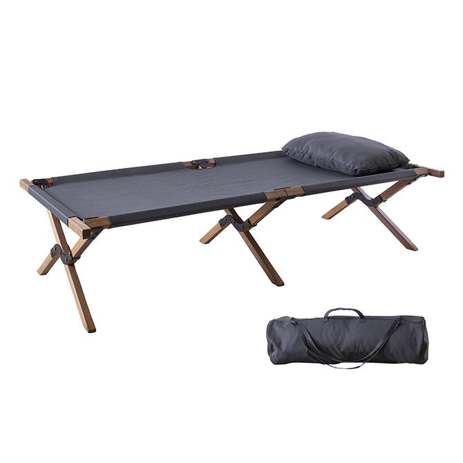 折りたたみベッド アウトドア NX-935 キャンプベッド 枕付き 収納バッグ付き ベッド 木製 コット レジャーベッド キャンピング グレー ベット
