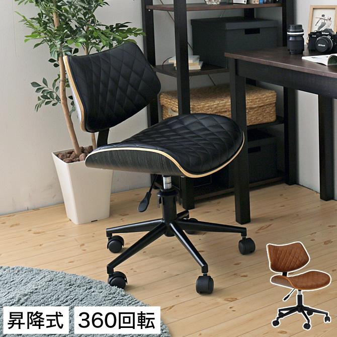 チェア 360回転 昇降式 キャスター おしゃれ 高級感 ブラック/ブラウン | チェアー パソコンチェア 椅子 いす イス