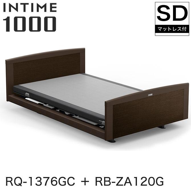 パラマウントベッド インタイム1000 電動ベッド マットレス付 セミダブル 3モーター ヨーロピアン(グレーアブストラクト) ラウンド(マットグレー) ダークオーク グレイクス INTIME1000 RQ-1376GC + RB-ZA120G