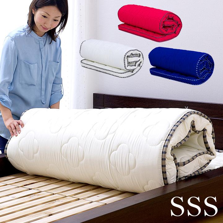 丸められるポケットコイルマット SSS 高品質 薄型ポケットコイルマットレス ねごこっち[シングルスリムショート]ポケットコイル 柔らか マットレス 二段ベッド用 三段ベッド用 システムベッド ロフトベッド用