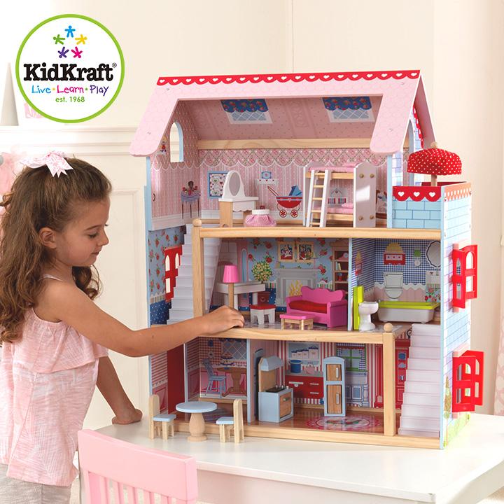 【正規品/CEマーク付き】KidKraft チェルシードールコテージ ドールハウス 人形遊び 家具付き 16点 ドールハウスセット こども 子ども おもちゃ オモチャ