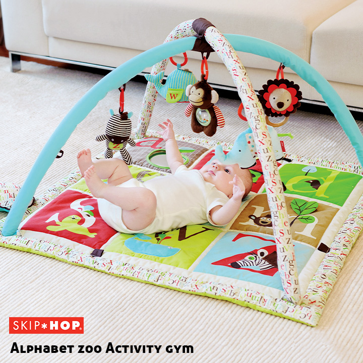 【割引クーポン配布中】【5つのおもちゃ・ピロー付き/洗濯可能】SKIP HOP(スキップホップ) ベビージム アルファベットズー・アクティビティジム 赤ちゃん ベビー おしゃれ おもちゃ 海外プレイマット プレイジム