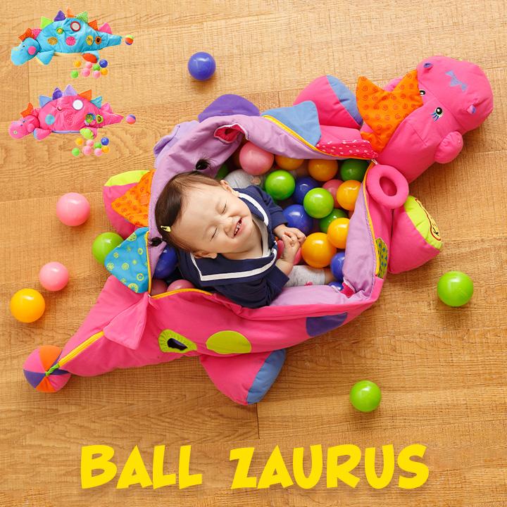 【ミラー・ラトル付き/ボール60個付属】K's kids(ケーズキッズ) ボール・ザウルス 全2種 ボールプール 洗濯可能 コンパクト カラカラ ぬいぐるみ 抱き枕 ベビー キッズ 子供 おもちゃ箱 子供用 ダッドウェイ DADWAY
