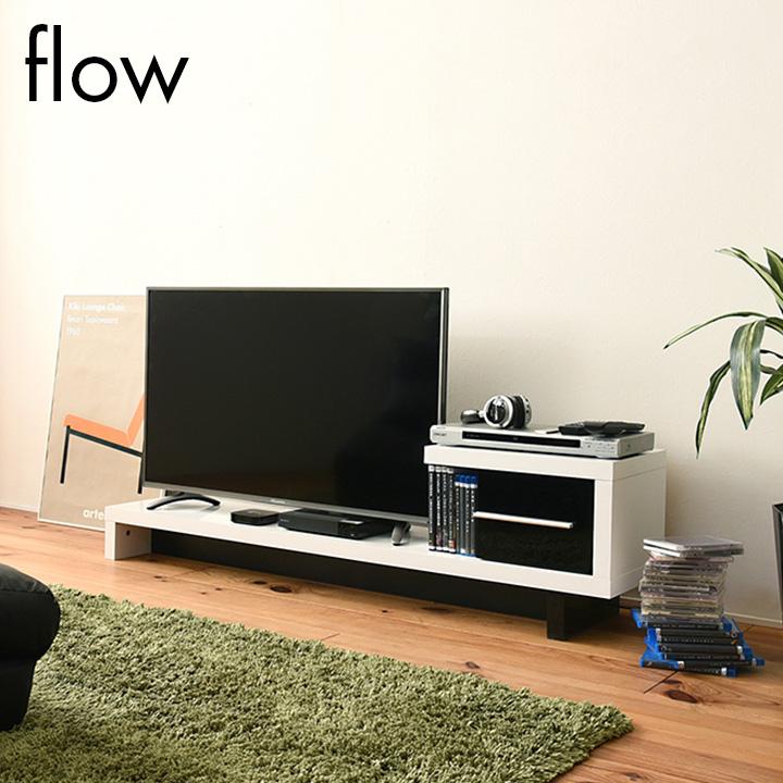 ZIGZAG 引出し付きローボード 40インチ対応 薄型テレビ台 flow(フロウ) FTV-0001 鏡面仕上げ テレビボード テレビラック