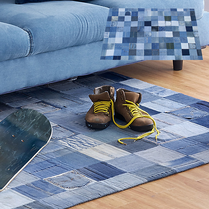 200×140cm Patchwork denim rug(パッチワーク デニム ラグ) ラグ デニムラグ カーペット 長方形 ラグマット ポケット ジーンズ WE-130 (大型)