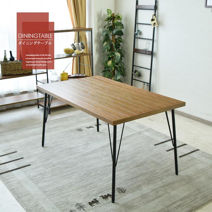 【クーポン配布中】 ダイニングテーブル 幅135 4人用 レッドオーク 木製 アイアン脚 ブルックリンスタイル 食卓テーブル テーブル カフェテイスト オシャレ