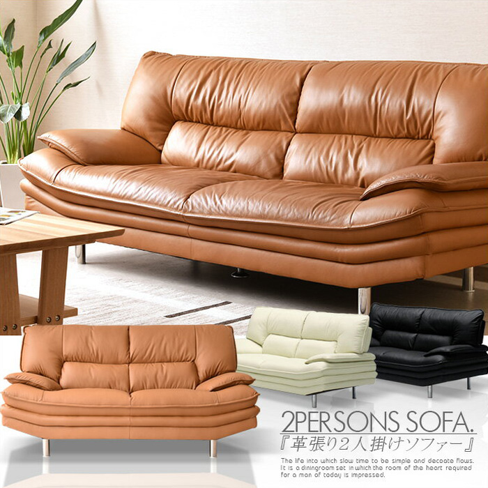 Leather couch 2 p sofa two seat backrest simple modern Scandinavian style